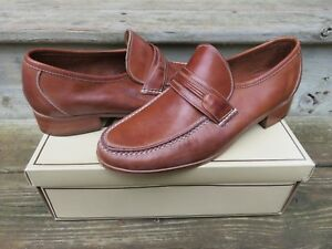 NOS-Hanover-Handsewn-Woven-Fullstrap-Leather-Moccasin-Size-10-M-Made-in-Brazil