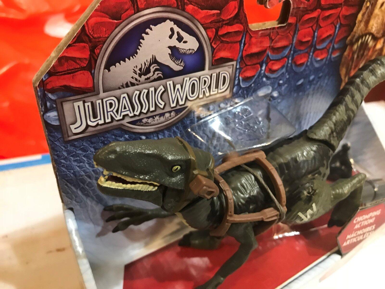 Jurassic park welt velociraptor blau mit schmatzen aktion dinosaurier - figur