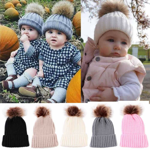 Winter Warm Hat Newborn Baby Kids Boy Girl Knit Beanie Hat Fur Pom Crochet Cap