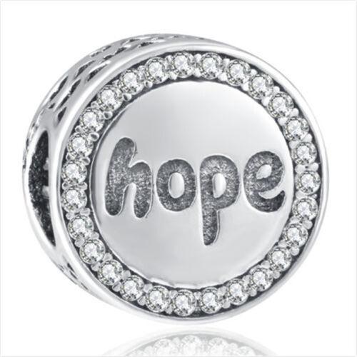 Européenne Argent 925 Zircon Cubique espoir Charm Perles Pendentif Fit Bracelet Collier Chaîne