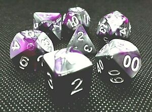 dice4friends-7-RPG-Wuerfel-Set-Poly-DND-Rollenspiel-lila-racing-silber-HD-Dice
