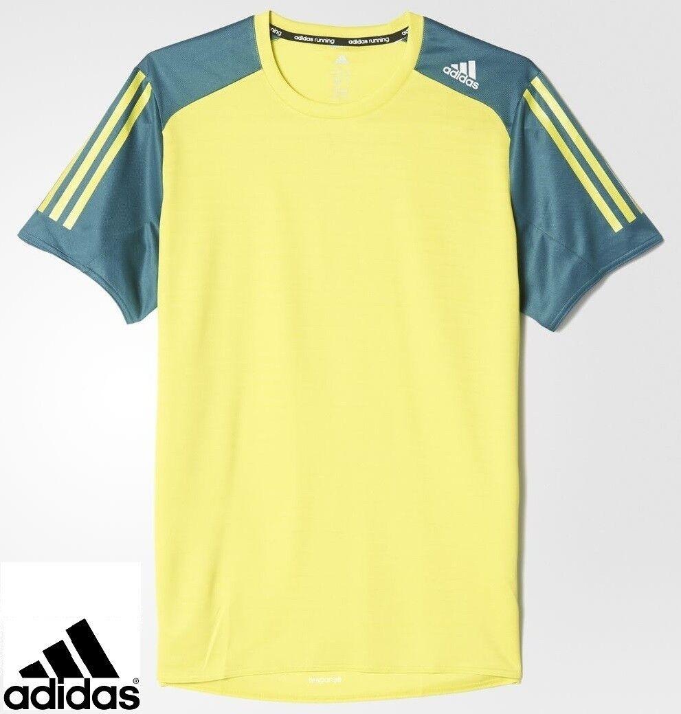 Adidas Férfi Válasz Climalit Futó T-Shirt Top Lime Tech Zöld Méret UK XL