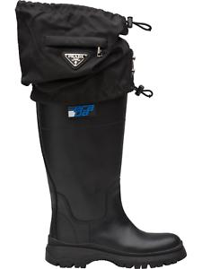 Prada Gaiter botas Leather nailon 2 in1 rainbotas lluvia botas zapatos zapatos 36