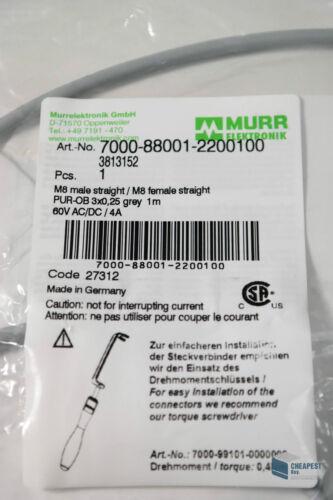 Murr 7000-88001-2200100 Verbindungsleitung M8 3 x 0,25 grau 1,0 m Kabel