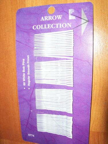 """Details about  /Arrow White Bobby Pins Rubber Tipped 60 Count Bridal Graduation Metal 1.75/"""""""