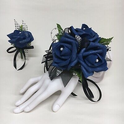 Glamour Single Royal Blue Rose on Black Wrist Corsage /& Boutonniere Combo