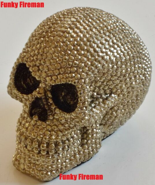 Skull studded with silver golden faux diamonds - Gothic cool funky ornament gift