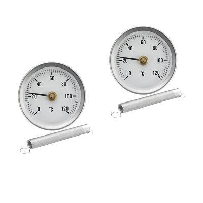 63mm Aluminium Case Thermometer Clip-on Temperature Dial Gauge with Spring 0-120/°C 2pcs Pack