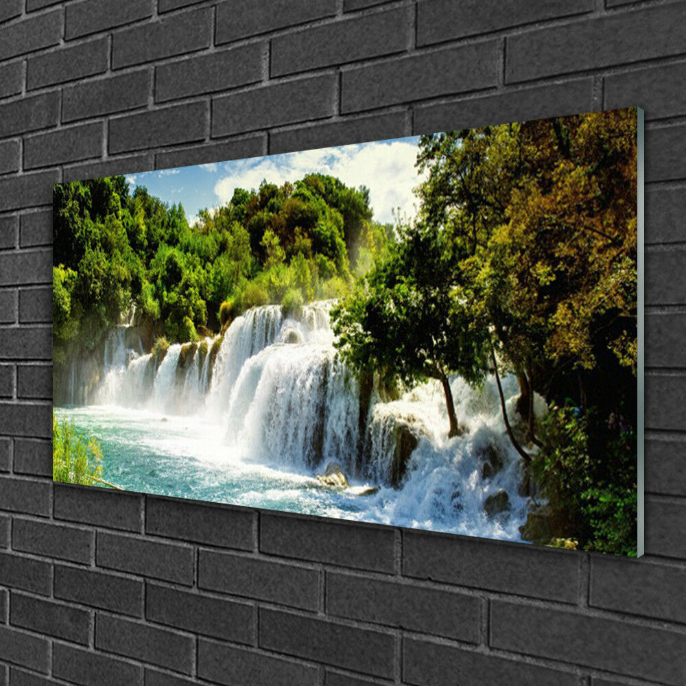 Glass print Wall art 100x50 Image Picture Waterfall Waterfall Waterfall Trees Nature 3d71d0