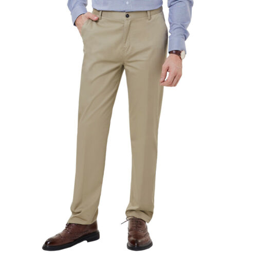 PJ Men/'s Slim Fit Pants Formal Office Business Wedding Straight Zipper Trousers