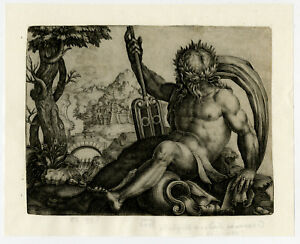 Antique Master Print-RARE-MYTHOLOGY-RIVERGOD-LANDSCAPE-Maglioli-ca. 1600