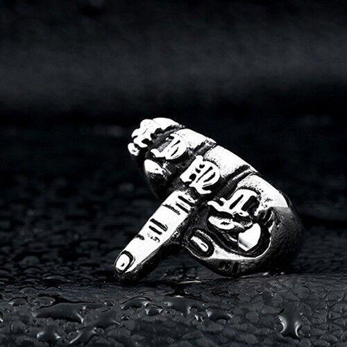 Men/'s Finger Ring FUUCK Steel color Retro Titanium Steel Personality Accessories