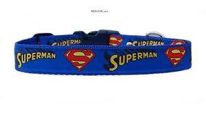Azul-Amarillo-Rojo-034-Superman-034-Correa-Para-Perro-Mediano-Grande-amp-CONJUNTO-25mm