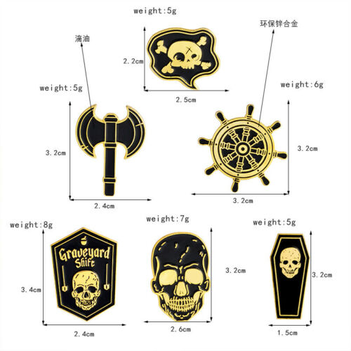Friedhof Pirat Schädel Piercing Brustpin Brosche Pins Revers Corsage Schmuck