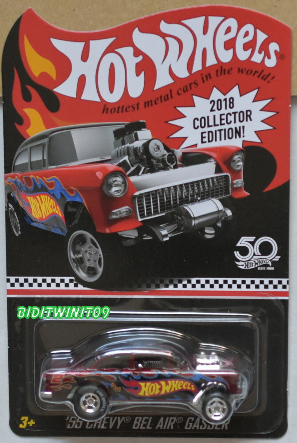 HOT WHEELS 2018 COLLECTOR EDITION '55 CHEVY BEL AIR GASSER KMART MAIL