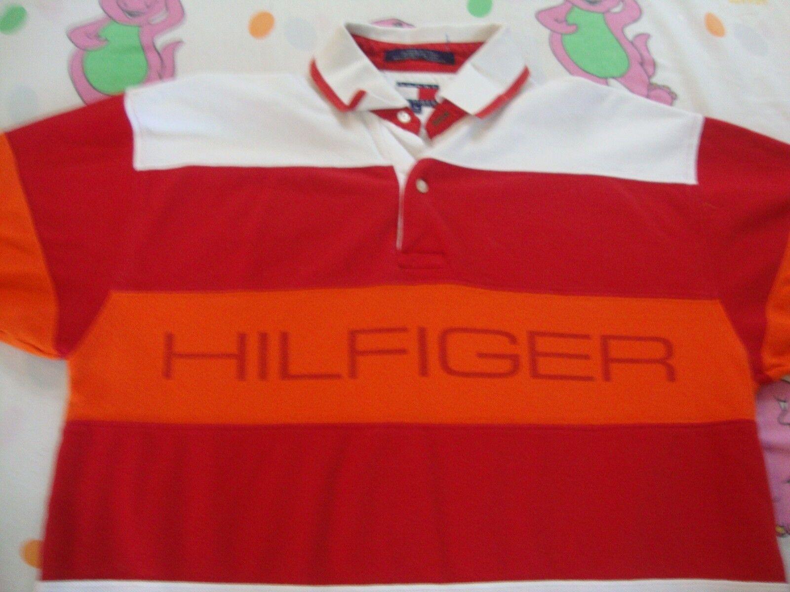Vintage TOMMY HILFIGER Orange Stripe Rap Hip Hop 90's Polo Collar Shirt Größe M