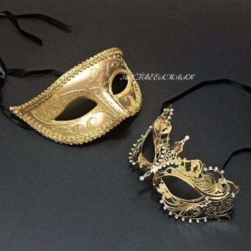 Couple  Metal and One Eye Glitter Set Venetian Birthday ball Masquerade Masks