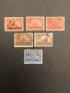 U-S-Revenue-Battleship-Documentary-Lot-Of-6-Used-Stamps-1898-1899