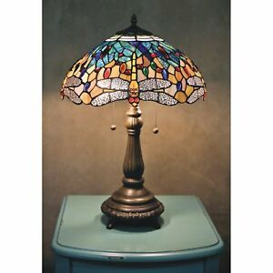 """Stained Glass Tiffany Style Yellow Dragonfly Table Lamp 2 Lights 16"""" Shade"""