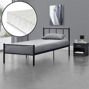metallbett 90x200 mit matratze schwarz bettgestell design bett metall ebay