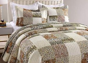 Details About 3pc Quilt Bedspread Sets Bedding Coverlet Bedroom Cheetah Cal King Size