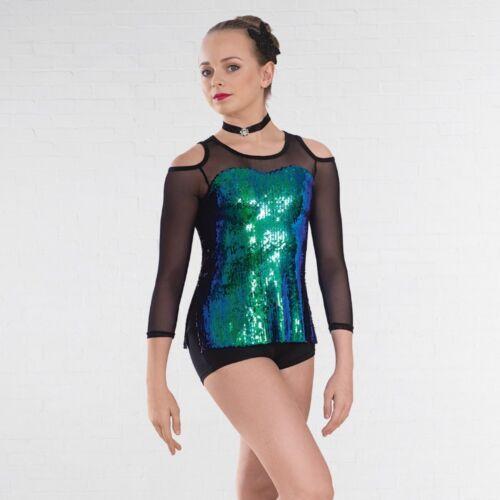 Paon Iridescent Sequin Combinaison Moulante Résille Manches Jazz Moderne Tap Dance Costume