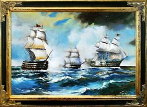 Painting-Battle-Port-Sea-Oil-Ships-Picture-Frame-G02007