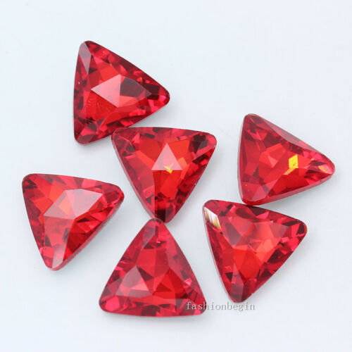 20p 18mm triangle point back crystal glass foiled rhinestone jewelry making bead