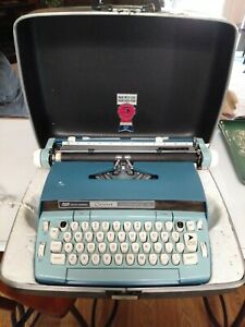 Vintage Smith-Corona Blue Coronet Automatic 12 Typewriter with Case  CLEAN!