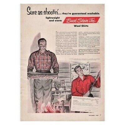 Ships for Free Great Vintage Men/'s early 50/'s Red Wool Long Sleeve Shirt by Buck Skein Joe Size M
