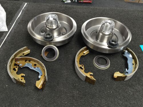 FORD FOCUS 2 REAR BRAKE DRUMS BRAKE SHOES WHEEL BEARING FITTED ABS RING