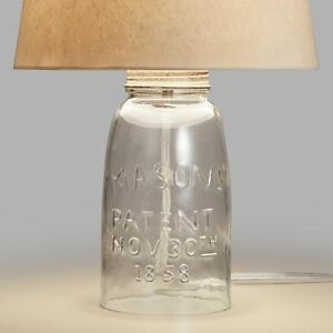 Image Is Loading Mason Jar Accent Table Lamp Base Embossed Open