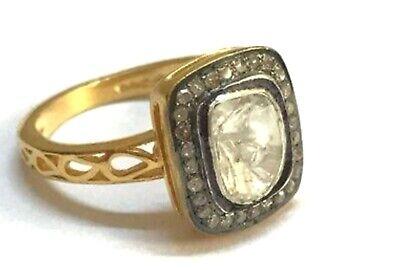925 Sterling Silver Victorian Pave Diamond Polki Band Wedding Gift Ring 48