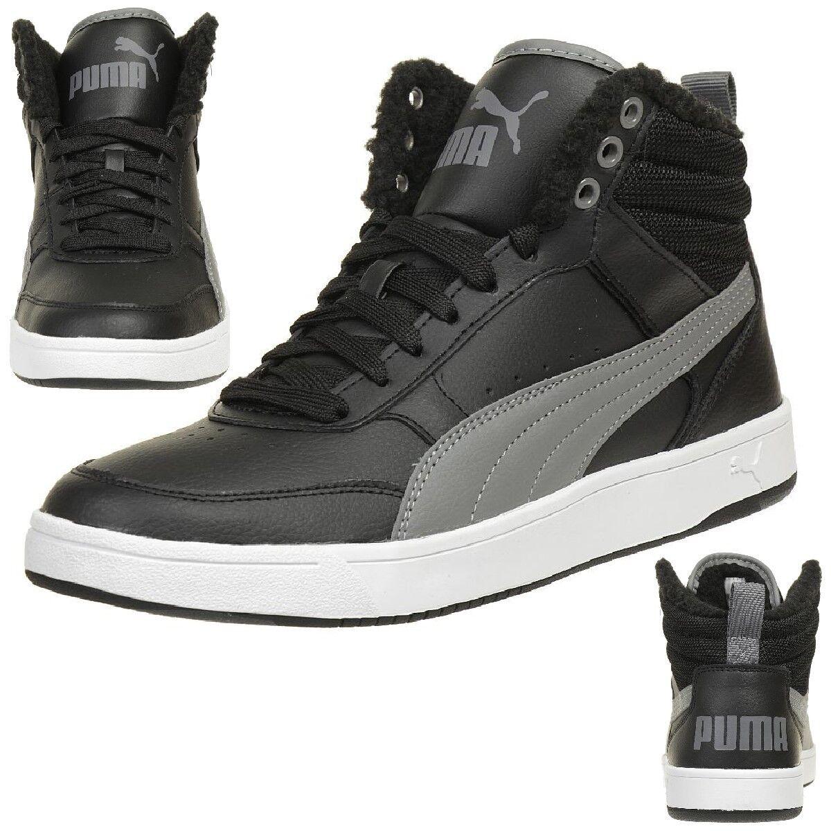 Puma Rebound Street V2 Piel botas de Invierno Hombres negro Forrado Cálido