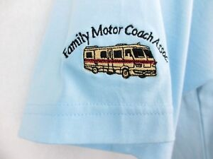Family-Motor-Coach-Assoc-Shirt-Sahara-Blue-Short-Sleeve-Mens-Extra-Large-XL
