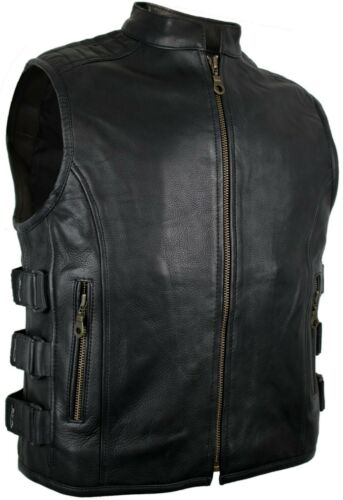 cha cha Bad Company-Leatherwear Rocker Club tonaca Biker Gilet in Pelle tasca a filetto