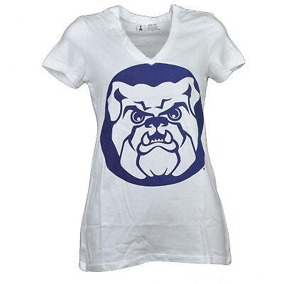 Modestil Ncaa Butler Bulldogs V-ausschnitt T-shirt Weiß Damen Kurzärmelig Großes Logo Weitere Ballsportarten Fanartikel