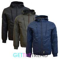 Mens Crosshatch Designer Waterproof Hooded Raincoat Padded Zipped Jacket S-xl