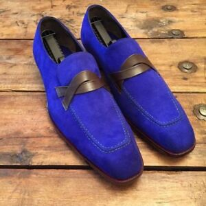 Handmade men loafer shoes, royal blue