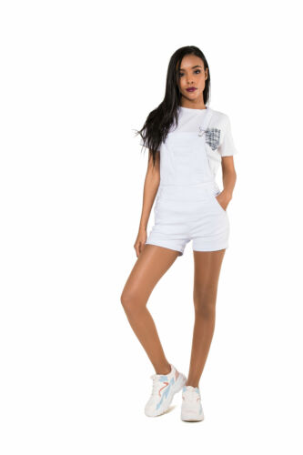 Women Dungaree Shorts Ladies Coloured Playsuit Jumpsuit Stretch Romper Size 6-14