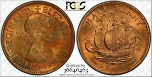 1963-GREAT-BRITAIN-HALF-PENNY-PCGS-MS64RB-BU-COLOR-TONED-COIN-NONE-GRADED-HIGHER