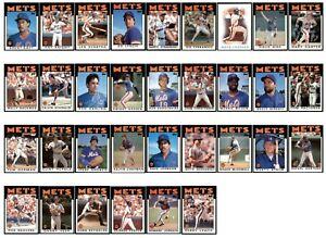 1986 New York Mets Topps Baseball Team Set 33 Cards - Strawberry Dykstra Gooden!