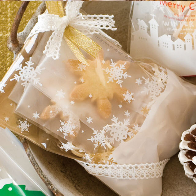 gold & white snowflake food gift treat cellophane cello bags w/ twist ties party