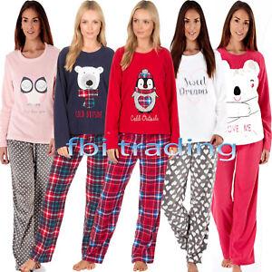 1efede1160 Ladies Womens Fleece Pyjamas Set Pjs Long Sleeve Night Lounge Wear ...
