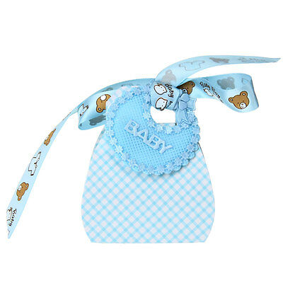 12x Candy Sweet Gift Box Wedding Party Favor Baby Shower Ribbon Blue