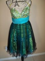 Jovani Blue/green Multi-color Print Strapless Formal Party Dress Size 8