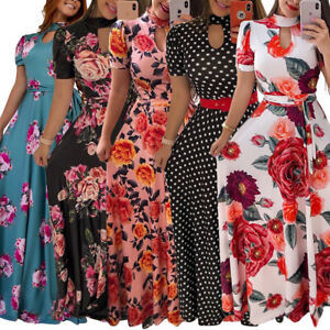 Details about Womens Plus Size Dashiki flower Graffiti Print African Ball  Gown Maxi Dress
