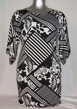 Chico's women 2X black/white floral abstract dress kimono sleeve summer E-31