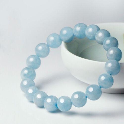 "Fashion 10 Mm Naturel Bleu Aquamarine Perles Rondes Extensible Bracelet Jonc 7.5/"""