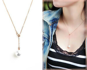 bfe112e16 New 18K Rose Gold Filled Women Cute Pearl Drop Sexy pendant Charm ...